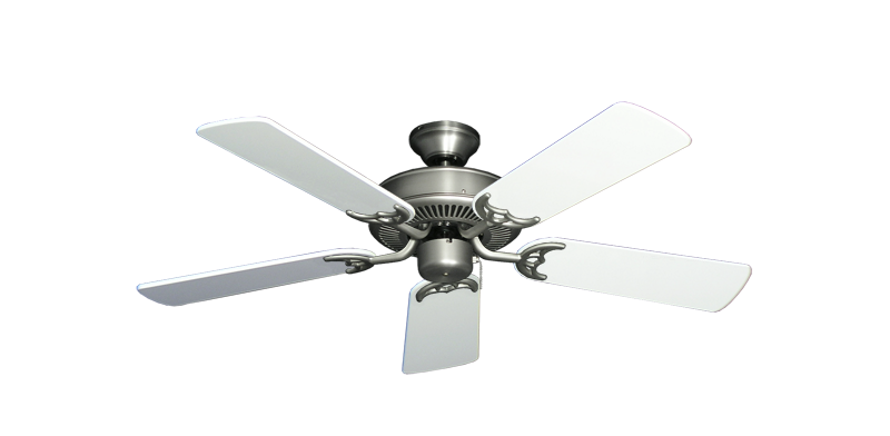 "Bermuda Breeze V Satin Steel with 44"" Pure White Gloss Blades"