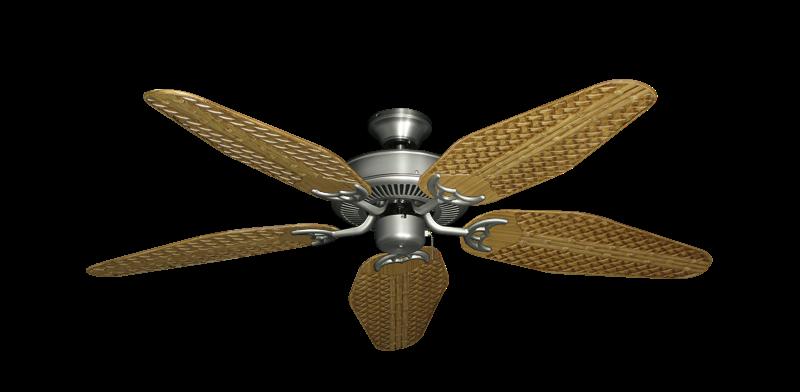 "Bermuda Breeze V Satin Steel with 52"" Outdoor Weave Walnut Blades"