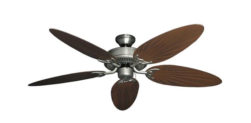 """Bermuda Breeze V Satin Steel with 52"""" Outdoor Palm Oil Rubbed Bronze Blades"""