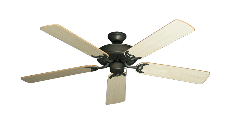 """Bermuda Breeze V Oil Rubbed Bronze with 52"""" Bleached Oak Gloss Blades"""