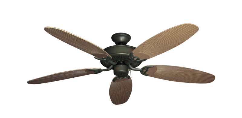 """Picture of Bermuda Breeze V Oil Rubbed Bronze with 52"""" Outdoor Leaf Tan Blades"""