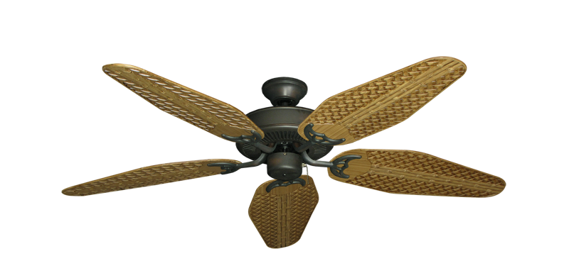 """Picture of Bermuda Breeze V Oil Rubbed Bronze with 52"""" Outdoor Weave Walnut Blades"""