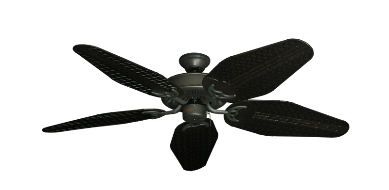 "Picture of Bermuda Breeze V Oil Rubbed Bronze with 52"" Outdoor Weave Oil Rubbed Bronze Blades"