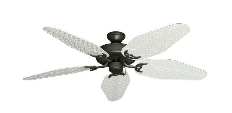 """Picture of Bermuda Breeze V Oil Rubbed Bronze with 52"""" Outdoor Weave Pure White Blades"""
