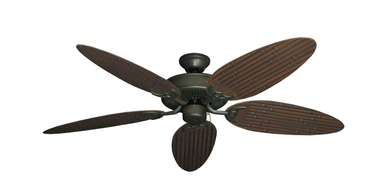 """Picture of Bermuda Breeze V Oil Rubbed Bronze with 52"""" Outdoor Bamboo Oil Rubbed Bronze Blades"""