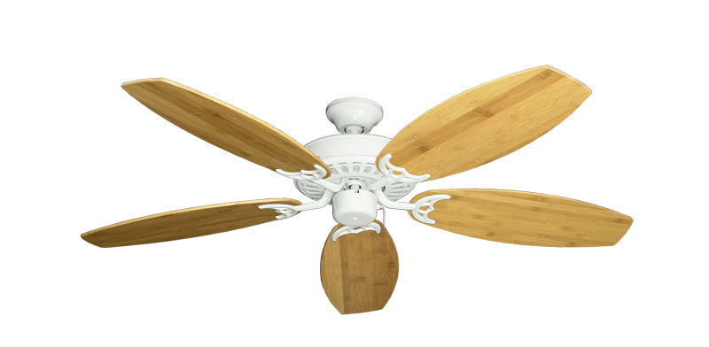 "Bimini Breeze V Pure White with 52"" Oar Bamboo Brown Blades"