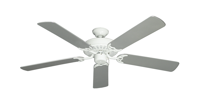 """Bimini Breeze V Pure White with 52"""" Outdoor Brushed Nickel Blades"""