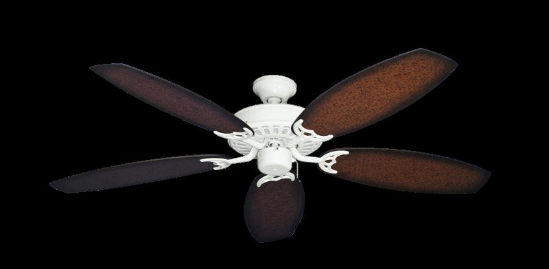 "Bimini Breeze V Pure White with 52"" Outdoor Oar Aged Mahogany Blades"