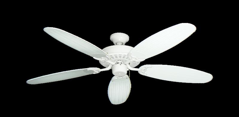 "Picture of Bimini Breeze V Pure White with 52"" Outdoor Wicker Pure White Blades"