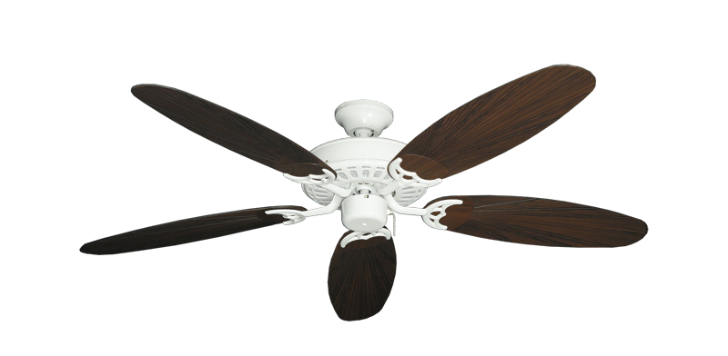 """Bimini Breeze V Pure White with 52"""" Outdoor Leaf Oil Rubbed Bronze Blades"""