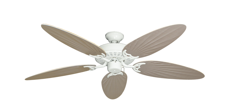 """Picture of Bimini Breeze V Pure White with 52"""" Outdoor Palm Distressed White Blades"""