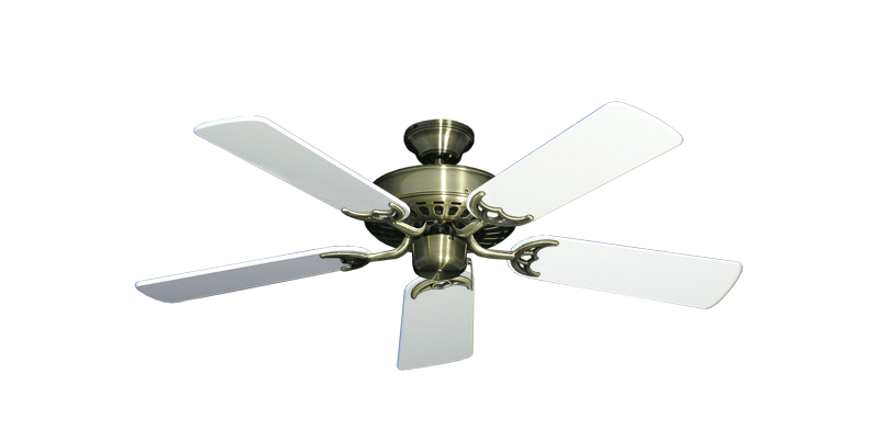 """Picture of Bimini Breeze V Antique Brass with 44"""" Pure White Gloss Blades"""