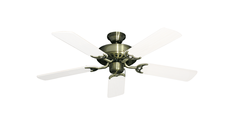 "Picture of Bimini Breeze V Antique Brass with 44"" Outdoor Pure White Blades"