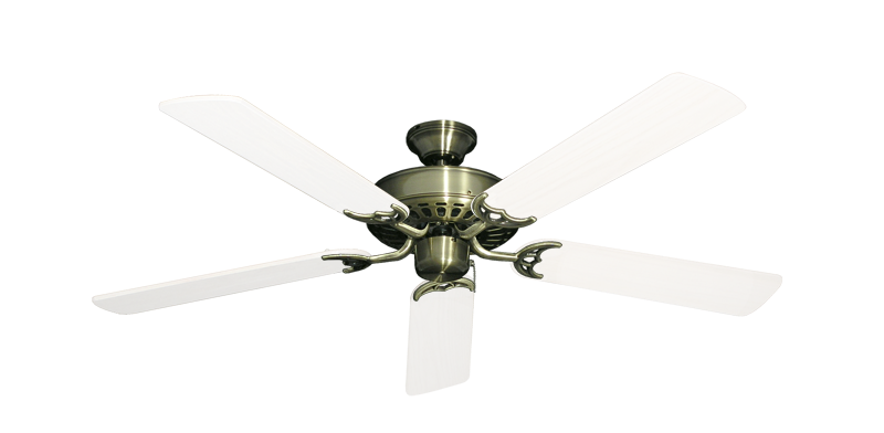 "Picture of Bimini Breeze V Antique Brass with 52"" Outdoor Pure White Blades"