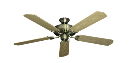 """Picture of Bimini Breeze V Antique Brass with 52"""" Outdoor Bleached Oak Blades"""