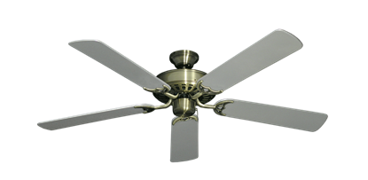 """Picture of Bimini Breeze V Antique Brass with 52"""" Outdoor Brushed Nickel Blades"""