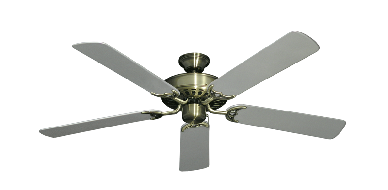 "Picture of Bimini Breeze V Antique Brass with 52"" Outdoor Brushed Nickel Blades"