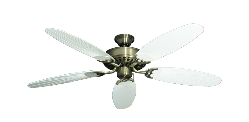 "Picture of Bimini Breeze V Antique Brass with 52"" Outdoor Leaf Pure White Blades"