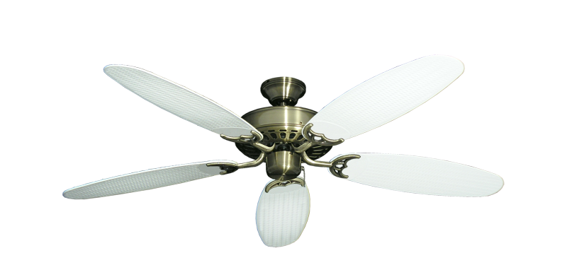 "Picture of Bimini Breeze V Antique Brass with 52"" Outdoor Wicker Pure White Blades"