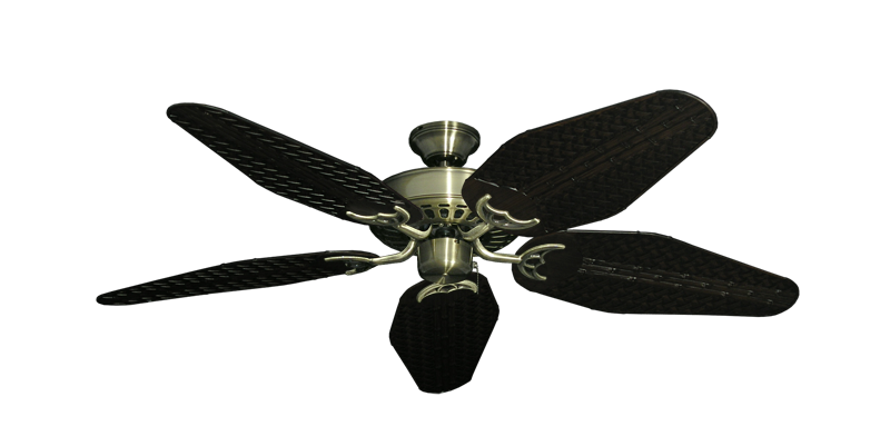 "Picture of Bimini Breeze V Antique Brass with 52"" Outdoor Weave Oil Rubbed Bronze Blades"