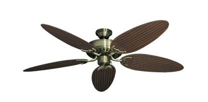 """Picture of Bimini Breeze V Antique Brass with 52"""" Outdoor Bamboo Oil Rubbed Bronze Blades"""