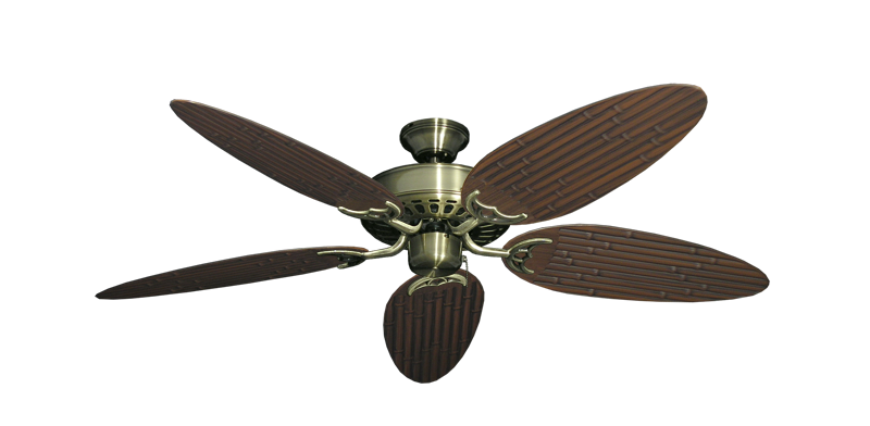 "Picture of Bimini Breeze V Antique Brass with 52"" Outdoor Bamboo Oil Rubbed Bronze Blades"