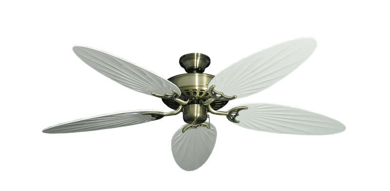"""Picture of Bimini Breeze V Antique Brass with 52"""" Outdoor Palm Pure White Blades"""