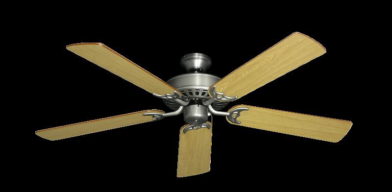 "Picture of Bimini Breeze V Satin Steel with 52"" Honey Oak Blades"