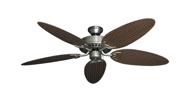 """Bimini Breeze V Satin Steel with 52"""" Outdoor Bamboo Oil Rubbed Bronze Blades"""