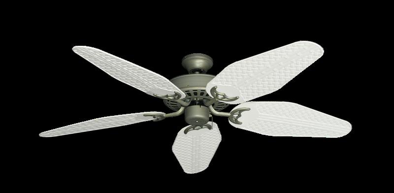"Bimini Breeze V Antique Bronze with 52"" Outdoor Weave Pure White Blades"