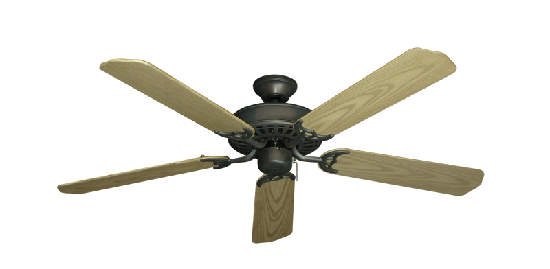 """Bimini Breeze V Oil Rubbed Bronze with 52"""" Outdoor Bleached Oak Blades"""