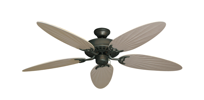 """Picture of Bimini Breeze V Oil Rubbed Bronze with 52"""" Outdoor Palm Distressed White Blades"""