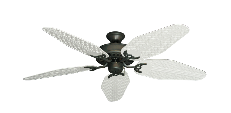 "Picture of Bimini Breeze V Oil Rubbed Bronze with 52"" Outdoor Weave Pure White Blades"