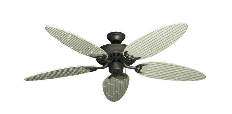 """Bimini Breeze V Oil Rubbed Bronze with 52"""" Outdoor Bamboo Antique White Blades"""