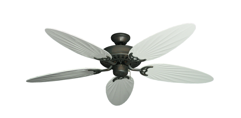 """Picture of Bimini Breeze V Oil Rubbed Bronze with 52"""" Outdoor Palm Pure White Blades"""