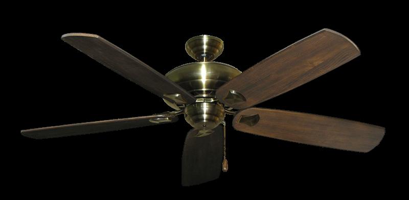 """Picture of Tiara Antique Brass with 60"""" Series 725 Arbor Dark Walnut Blades"""