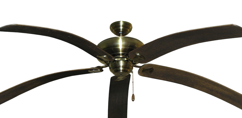 """Picture of Tiara Antique Brass with 80"""" Bahama Bent Walnut Blades"""