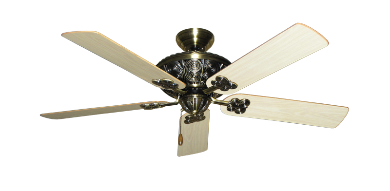 "Picture of Monarch Antique Brass with 52"" Bleached Oak Gloss Blades"