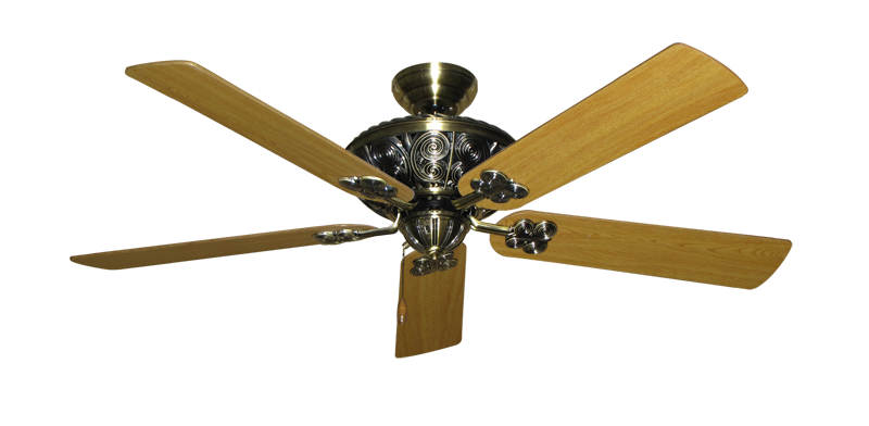 """Picture of Monarch Antique Brass with 56"""" Honey Oak Blades"""