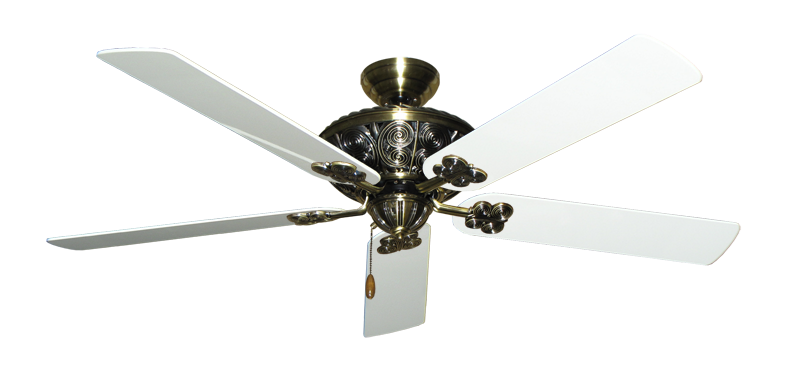 """Picture of Monarch Antique Brass with 60"""" Pure White Gloss Blades"""