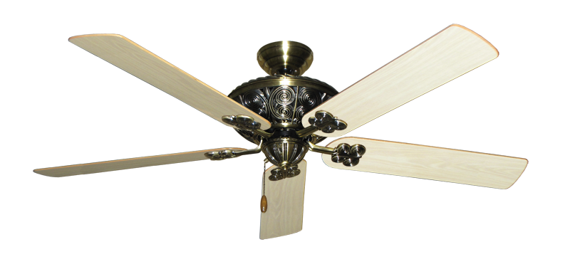 """Picture of Monarch Antique Brass with 60"""" Bleached Oak Gloss Blades"""