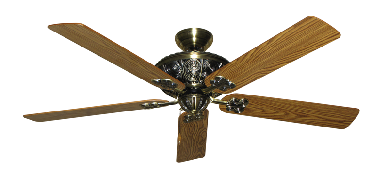 """Picture of Monarch Antique Brass with 60"""" Oak Gloss Blades"""