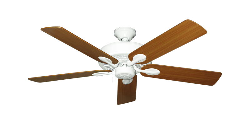 "Picture of Meridian Pure White with 52"" Teak Blades"