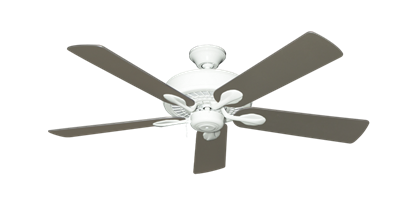 """Picture of Meridian Pure White with 52"""" Satin Steel (painted) Blades"""