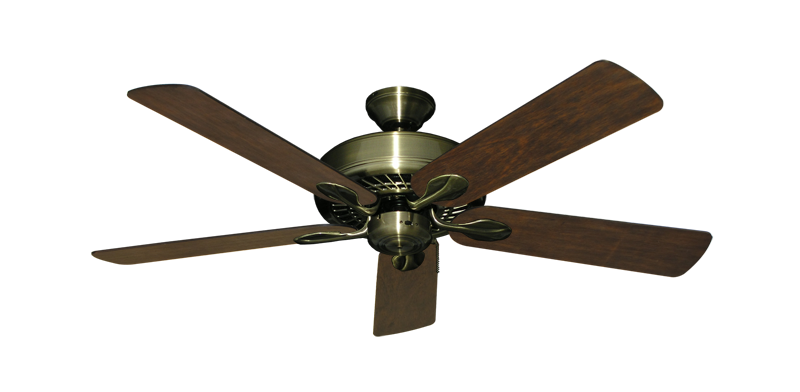 "Picture of Meridian Antique Brass with 52"" Distressed Walnut Blades"