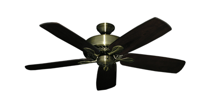 "Picture of Meridian Antique Brass with 52"" Series 710 Arbor Dark Walnut Blades"