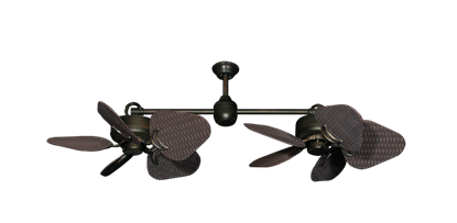 "Picture of Twin Star III Oil Rubbed Bronze with 35"" Wicker Oil Rubbed Bronze Blades"