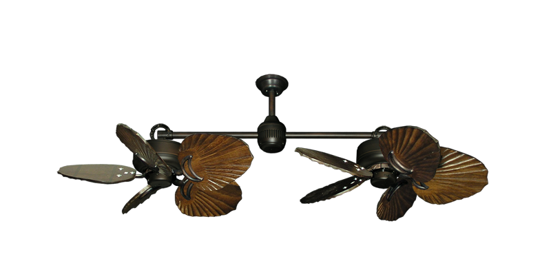 """Picture of Twin Star III Oil Rubbed Bronze with 35"""" Series 600 Arbor Dark Walnut Blades"""