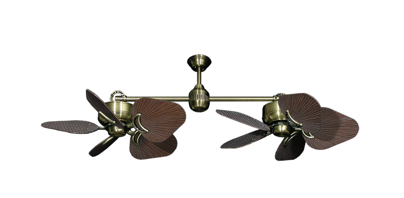 """Twin Star III Antique Brass with 35"""" Leaf Oil Rubbed Bronze Blades"""