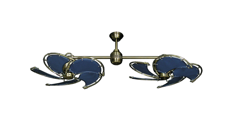 "Picture of Twin Star III Antique Brass with 30"" Nautical Fabric Blue Blades"